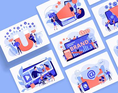 Digital marketing illustrations for UI