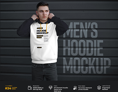 7 Mockups Hoodie on the Man. Urban Style +1 Free
