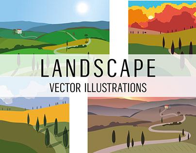 Landscapes. Vector illustration