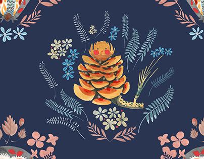 Pine nut & Owl pattern