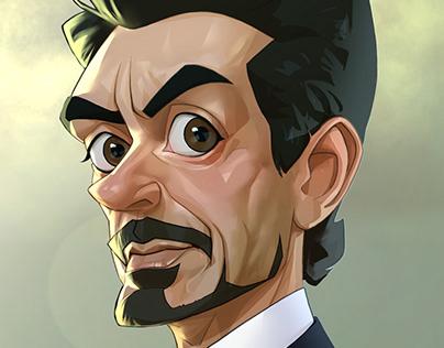 Caricature of Robert Downey Jr. as Tony Stark