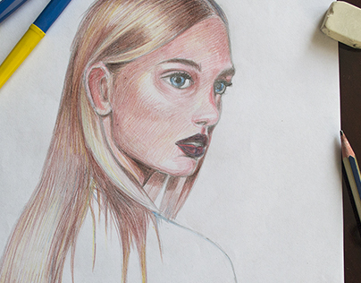 Fashion in colored pencils