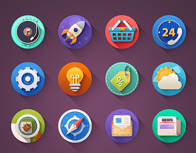 Set of 20 progress flat icons)