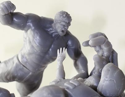 HULK VS. HULKBUSTER STATUE - 3D PRINT
