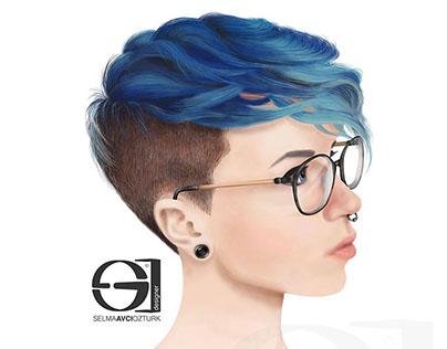 Digital Painting – Pixie Hair Girl