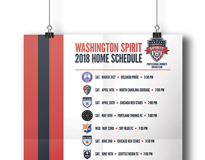 Washington Spirit 2018 Home Schedule Poster