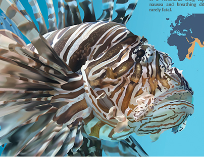 Lionfish Zoo Plate Illustration
