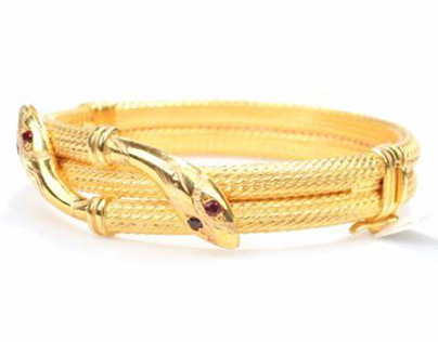 Gold Double Row Snake Bracelet