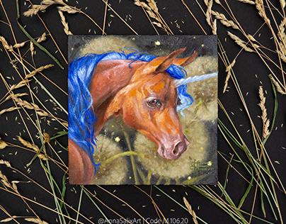 Dandelion Unicorn original oil painting
