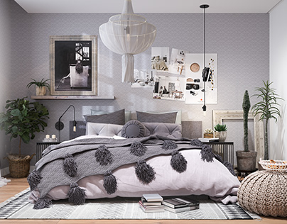 Boho Bedroom_ design by Dach.arch