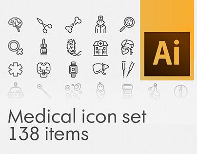 Medical stroke icon set