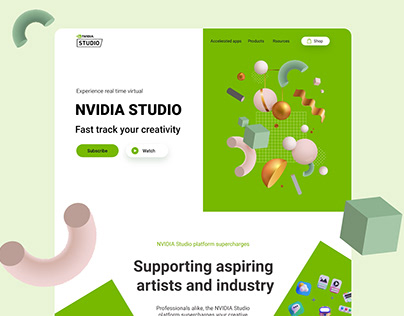 NVIDIA Studio landing page concept
