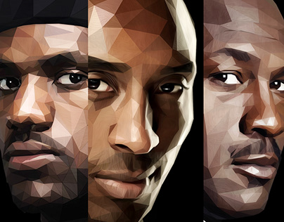 Low poly textured NBA superstars