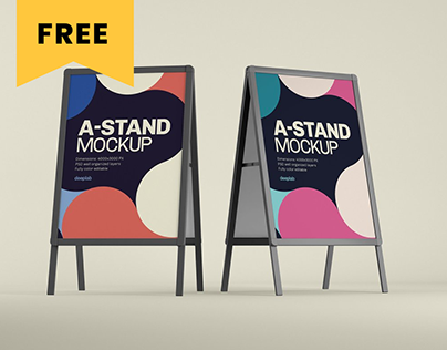 Advertising A-Stand Mockup Set - FREE