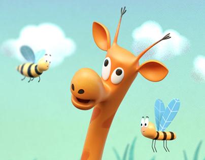 giraffe and bees