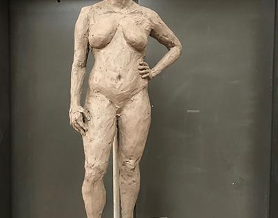 """Female Figure, Water Based Clay, 12""""x12""""x36""""- 2017"""