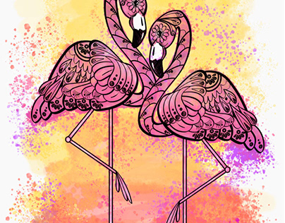 Flamingo summer sunset, wrap project