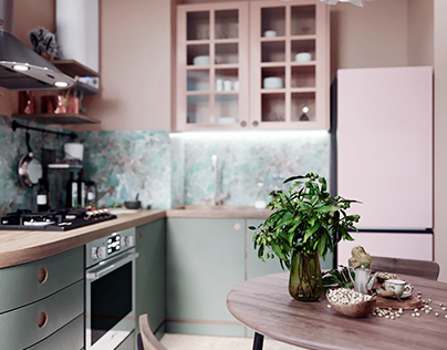 Kitchen: Pistachio & Beige pastel tones