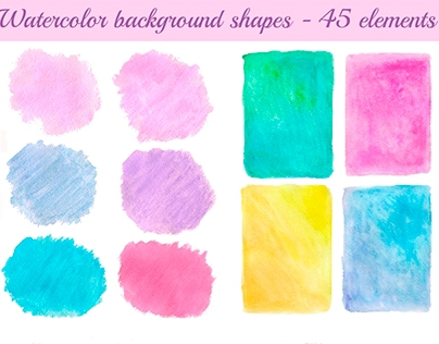 Watercolor background shapes - 45 elements