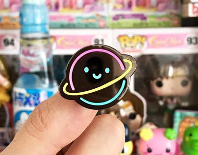 Neon Planet & Atom Pins