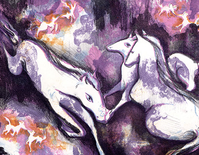 """Childrens Play -Riddle """"the snow horse"""" - Lithography"""