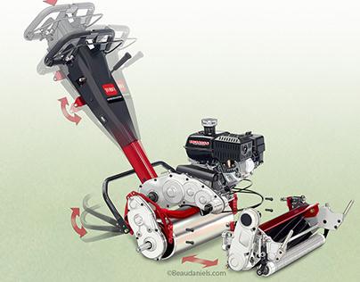 Golf roller, cutaway technical illustration