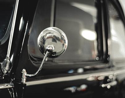 Old black car.