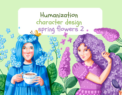 Character design. Spring flowers 2