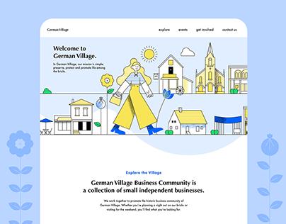German Village Landing Page UI Illustration
