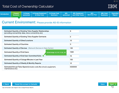 TCO Calculator Screens -IBM