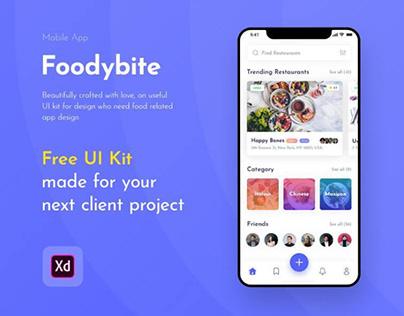 Foodybite UI Kit Free for Adobe XD