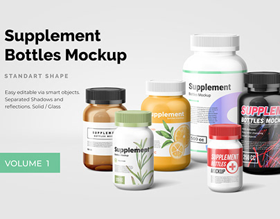 Supplement Bottles Mockup