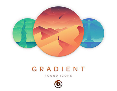 World Monuments and Travel Gradient Icon Set
