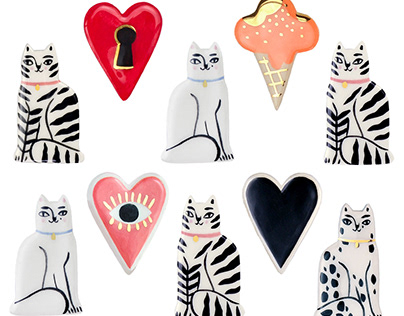 Illustrated Ceramic Pin Brooches