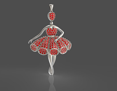 Ballerina Necklace with Rubby Gems