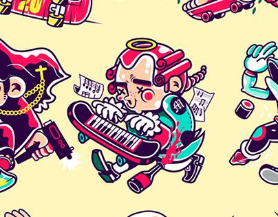 We love skateboards Character design concept