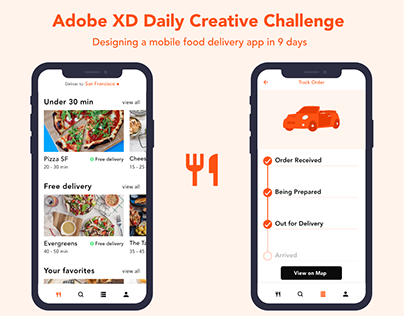 Adobe XD Daily Creative Challenge - Food Delivery App
