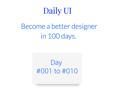 Daily UI , Day #001 to #010