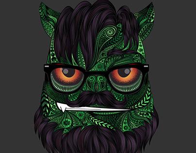 Green troll, vector illustration