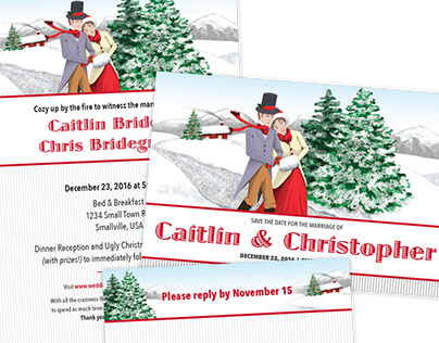 Christmas Wedding Invitation Set