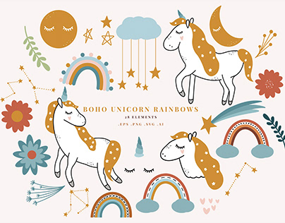 Boho Unicorn Rainbows Illustrations