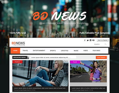 BDNEWS -Newspaper Website Template - Free PSD-Web UI/UX