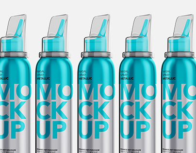 Nasal Spray Metallic Bottle - Mockup