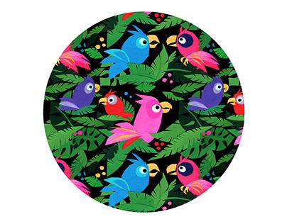 Fabric Pattern Pink Jungle Birds