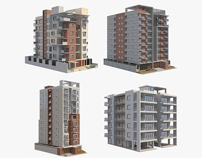 4 Apartment Buildings Set_3