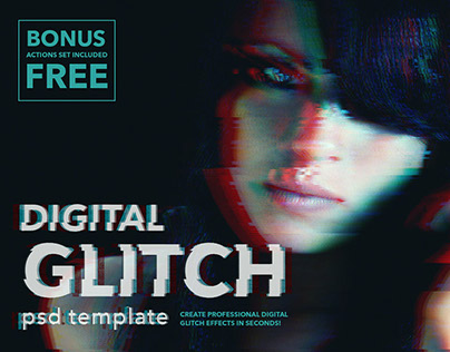 Digital glitch effect for Photoshop
