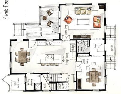 Real Estate Watercolor 2D Floor Plans Part 1