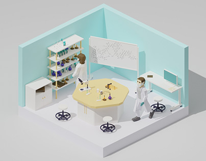 Laboratory Low poly Animation