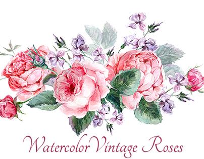 Watercolor vintage roses