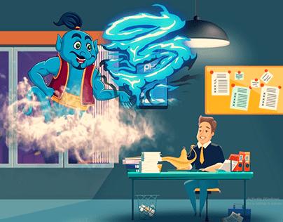 2D Animation   Genie 3 Wishes